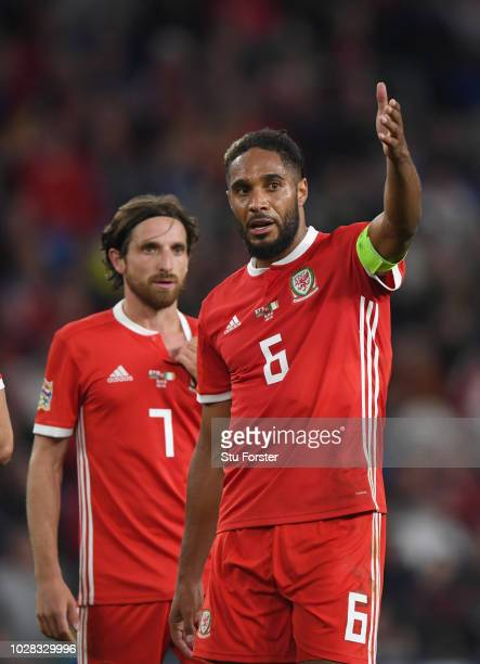Wales player captain Ashley Williams reacts to Joe Allen during the UEFA Nations League B group four match between Wales and Republic of Ireland at...