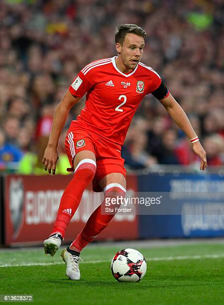 Wales player Chris Gunter in action during the FIFA 2018 World Cup Qualifier between Wales and Georgia at Cardiff City Stadium on October 9 2016 in...