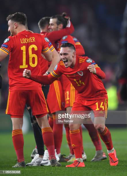 Wales player Connor Roberts celebrates after the UEFA Euro 2020 qualifier between Wales and Hungary at Cardiff City Stadium on November 19, 2019 in...