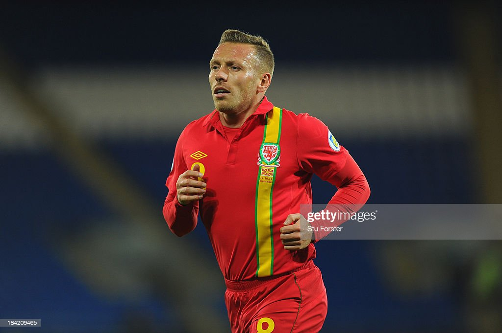 Wales player Craig Bellamy in action during the FIFA 2014 World Cup Qualifier Group D match between Wales and Macedonia at Cardiff City Stadium on October 11, 2013 in Cardiff, Wales.