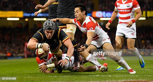 Wales player Dan Lydiate goes over for the first Wales try during the International match between Wales and Japan at Principality Stadium on November...