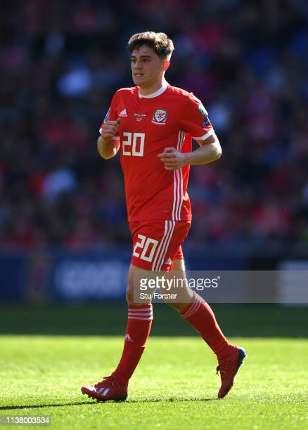Wales player Daniel James in action during the 2020 UEFA European Championships group qualifying match between Wales and Slovakia at Cardiff City...