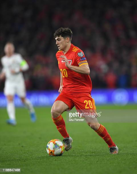 Wales player Daniel James in action during the UEFA Euro 2020 qualifier between Wales and Hungary at Cardiff City Stadium on November 19, 2019 in...