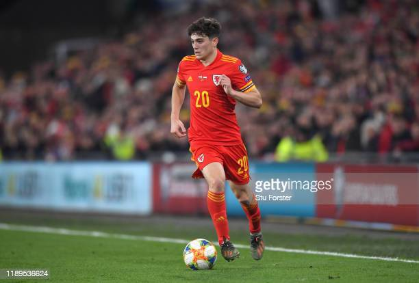 Wales player Daniel James in action during the UEFA Euro 2020 qualifier between Wales and Hungary at Cardiff City Stadium on November 19 2019 in...
