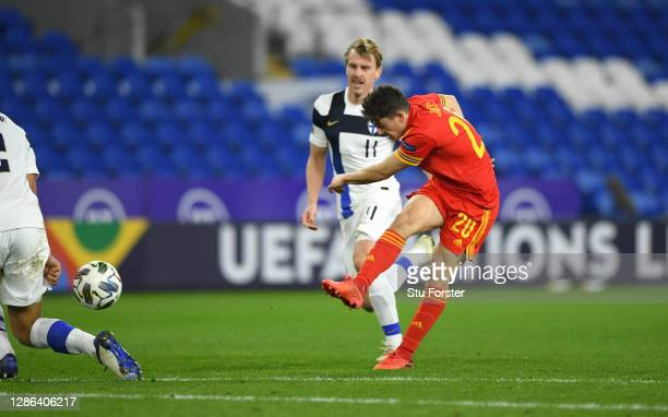 Wales player Daniel James shoots to score the second Welsh goal during the UEFA Nations League group stage match between Wales and Finland at Cardiff...