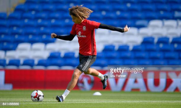 Wales player Ethan Ampadu in action during Wales training ahead of their FIFA 2018 World Cup Qualifier against Austria at Cardiff City Stadium on...