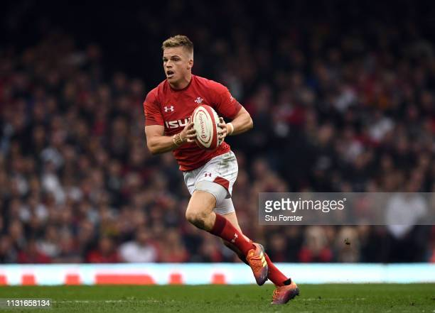Wales player Gareth Anscombe in action during the Guinness Six Nations match between Wales and England at Principality Stadium on February 23 2019 in...