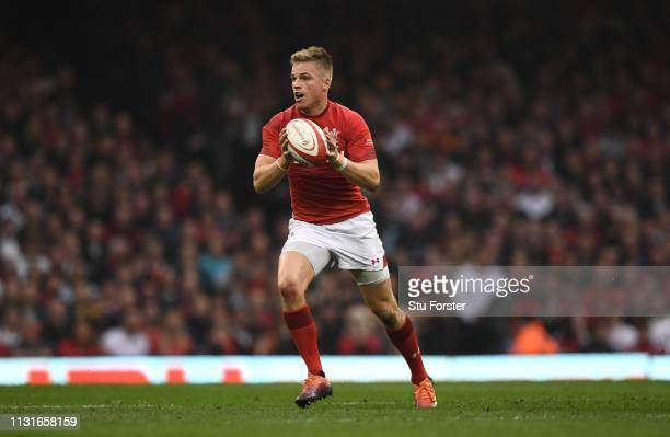 Wales player Gareth Anscombe in action during the Guinness Six Nations match between Wales and England at Principality Stadium on February 23, 2019...