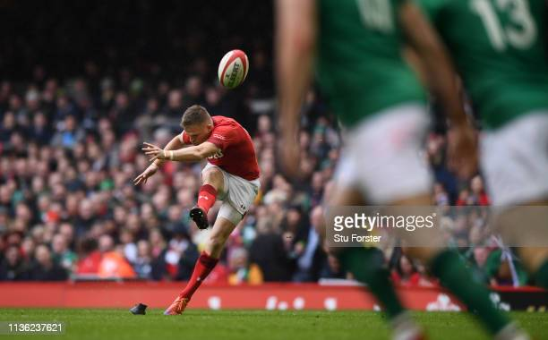 Wales player Gareth Anscombe kicks a penalty during the Guinness Six Nations match between Wales and Ireland at Principality Stadium on March 16 2019...