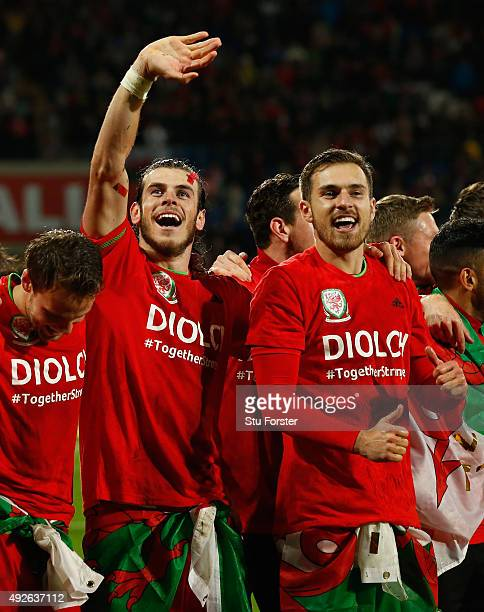 Wales player Gareth Bale and Aaron Ramsey and team mates celebrate after the UEFA EURO 2016 Group B Qualifier between Wales and Andorra at Cardiff...