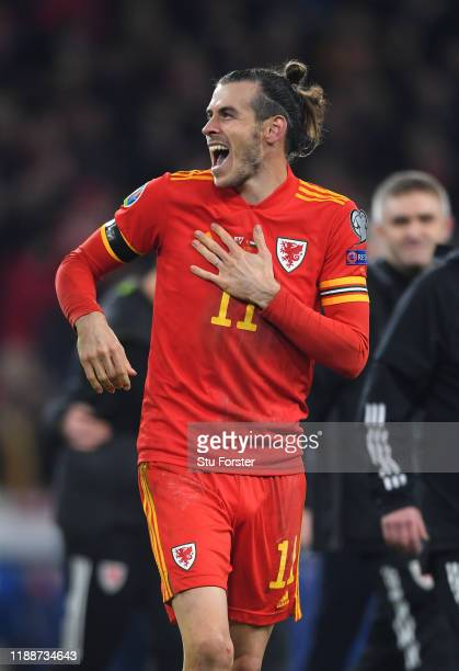 Wales player Gareth Bale celebrates after the UEFA Euro 2020 qualifier between Wales and Hungary at Cardiff City Stadium on November 19 2019 in...