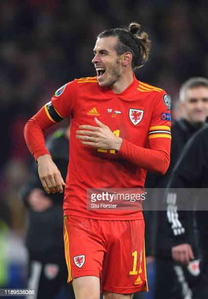 Wales player Gareth Bale celebrates after the UEFA Euro 2020 qualifier between Wales and Hungary at Cardiff City Stadium on November 19, 2019 in...