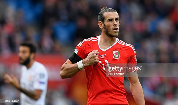 Wales player Gareth Bale complains to the referee about shirt pulling during the FIFA 2018 World Cup Qualifier between Wales and Georgia at Cardiff...