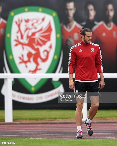 Wales player Gareth Bale enters the field before an open Euro 2016 Wales training session at the Wales training base on June 8 2016 in Dinard France