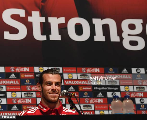 Wales player Gareth Bale faces the media during a Euro 2016 Wales press conference at the Wales training base on June 9, 2016 in Dinard, France.
