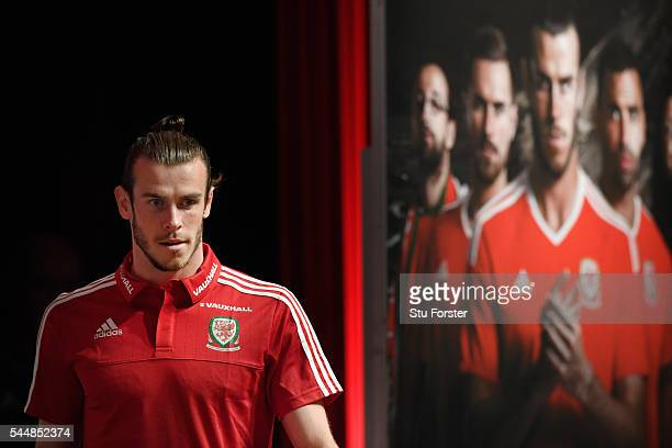 Wales player Gareth Bale faces the media during the Wales press conference ahead of their UEFA Euro 2016 semi final against Portugal at College Le...
