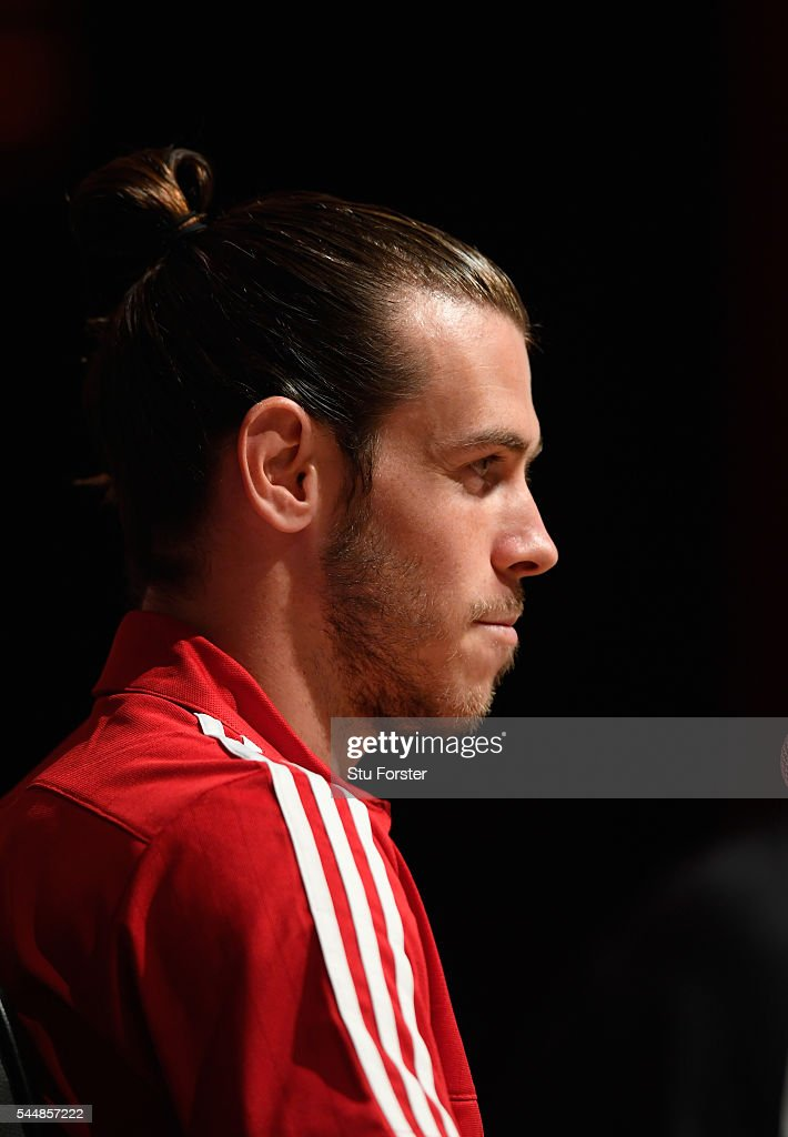 Wales player Gareth Bale faces the media during the Wales press conference ahead of their UEFA Euro 2016 semi final against Portugal at College Le Bocage on July 4, 2016 in Dinard, France.