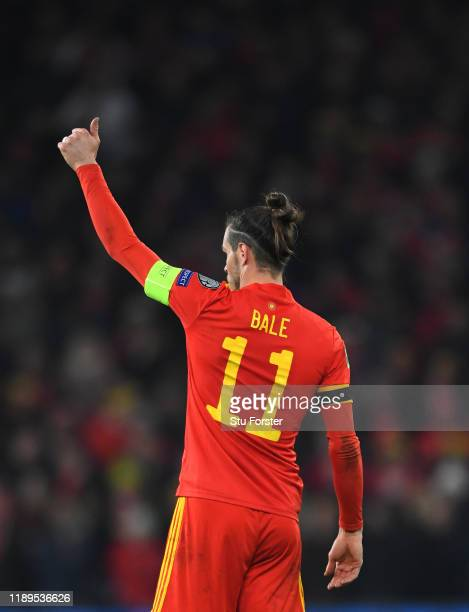 Wales player Gareth Bale gives the thumbs up reaction 1during the UEFA Euro 2020 qualifier between Wales and Hungary at Cardiff City Stadium on...