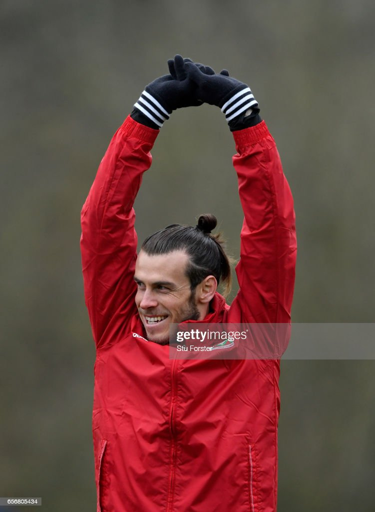 Wales player Gareth Bale in action during a Wales Open Training session ahead of their World Cup Qualifier against the Republic of Ireland at the Vale Hotel on March 23, 2017 in Cardiff, Wales.