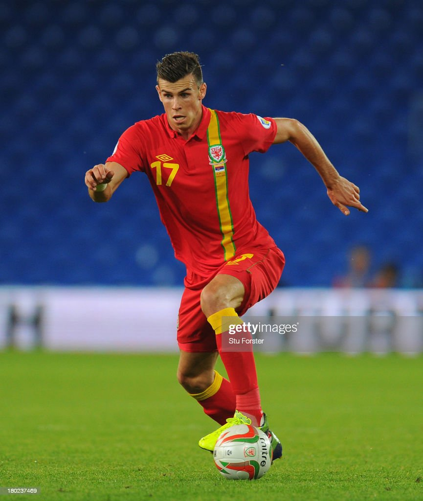Wales player Gareth Bale in action during the FIFA 2014 World Cup Qualifier Group A match between Wales and Serbia at Cardiff City Stadium on September 10, 2013 in Cardiff, Wales.