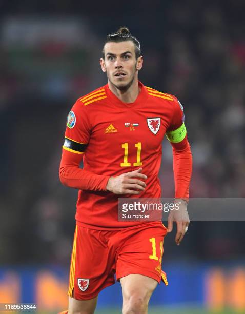 Wales player Gareth Bale in action during the UEFA Euro 2020 qualifier between Wales and Hungary at Cardiff City Stadium on November 19, 2019 in...
