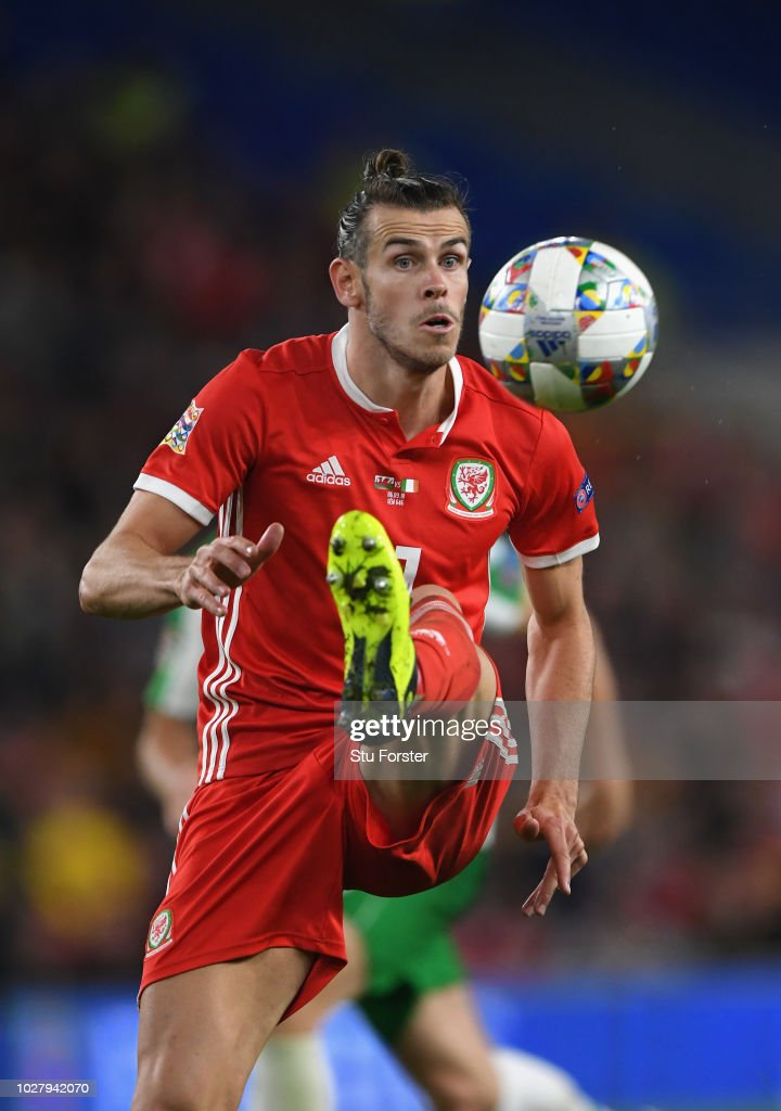Wales player Gareth Bale in action during the UEFA Nations League B group four match between Wales and Irland at Cardiff City Stadium on September 6, 2018 in Cardiff, United Kingdom.