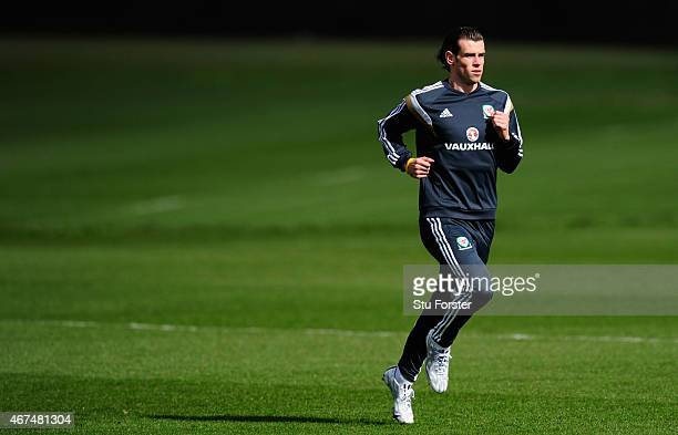 Wales player Gareth Bale in action during training ahead of this weekend's game against Israel at the Vale Hotel on March 25 2015 in Cardiff Wales