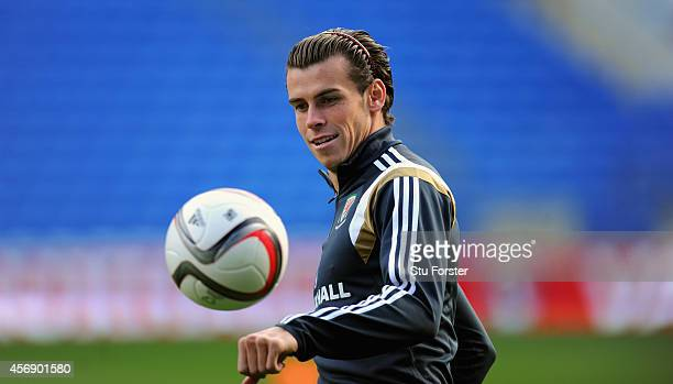 Wales player Gareth Bale in action during Wales training ahead of their UEFA 2016 qualifier against BosniaHerzegovina at Cardiff City Stadium on...