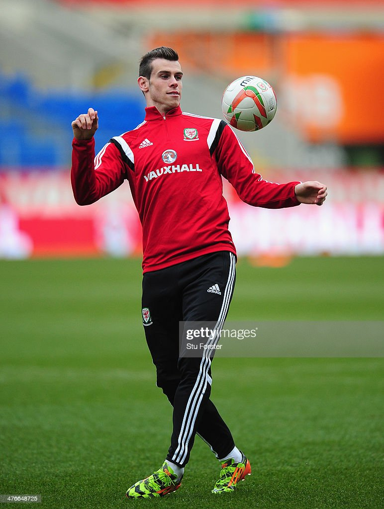 Wales player Gareth Bale in action during Wales training ahead of their match against Iceland at Cardiff City Stadium on March 4, 2014 in Cardiff, Wales.