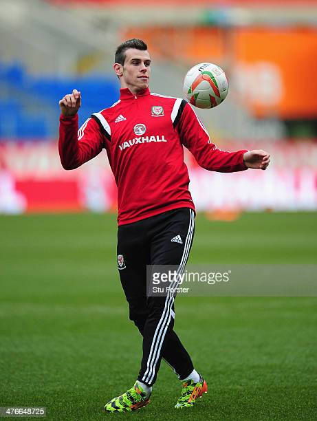 Wales player Gareth Bale in action during Wales training ahead of their match against Iceland at Cardiff City Stadium on March 4 2014 in Cardiff Wales