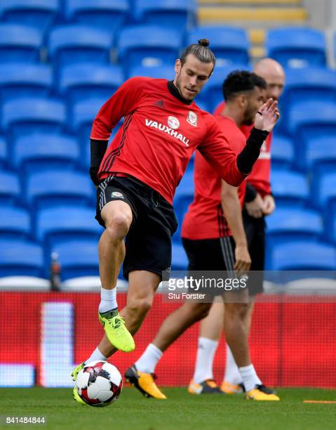 Wales player Gareth Bale in action during Wales training ahead of their FIFA 2018 World Cup Qualifier against Austria at Cardiff City Stadium on...