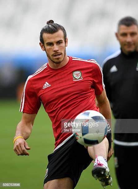 Wales player Gareth Bale in action during Wales training at Nouveau Stade de Bordeaux ahead of their opening Euro 2016 match against Slovakia on June...
