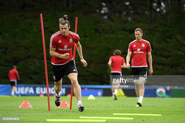 Wales player Gareth Bale in action during Wales training at their Euro 2016 base camp ahead of their Quarter Final match against Belguim on June 28...
