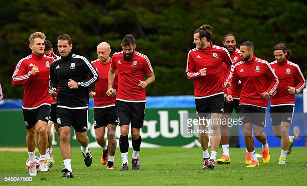 Wales player Gareth Bale in action with team mates during Wales training ahead of their UEFA Euro 2016 Semi final against Portugal at College Le...