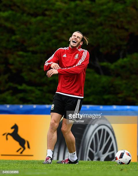 Wales player Gareth Bale laughs during Wales training ahead of their UEFA Euro 2016 Semi final against Portugal at College Le Bocage on July 5, 2016...