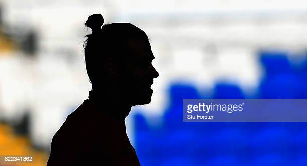 Wales player Gareth Bale looks on during Wales training prior to the FIFA 2018 World Cp qualifier against Serbia at Cardiff City Stadium on November...