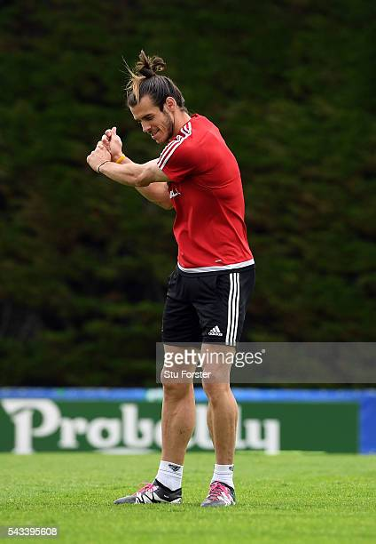Wales player Gareth Bale practices his golf swing during Wales training at their Euro 2016 base camp ahead of their Quarter Final match against...