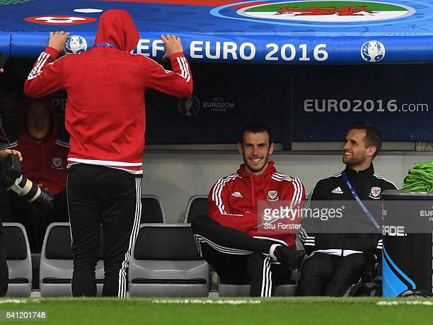 Wales player Gareth Bale raises a smile ahead of their Euro 2016 game against Russia at Stadium Muncipal on June 19 2016 in Toulouse France