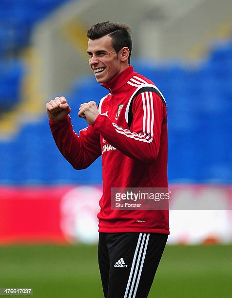 Wales player Gareth Bale raises a smile during Wales training ahead of their match against Iceland at Cardiff City Stadium on March 4 2014 in Cardiff...