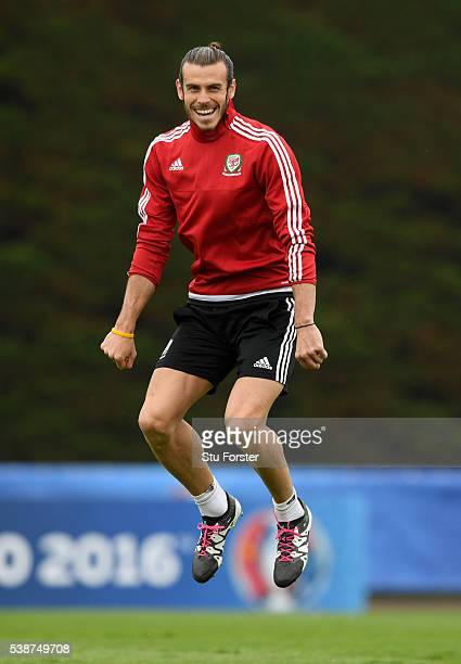 Wales player Gareth Bale reacts during an open Euro 2016 Wales training session at the Wales training base on June 8 2016 in Dinard France