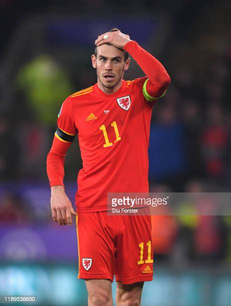Wales player Gareth Bale reacts during the UEFA Euro 2020 qualifier between Wales and Hungary at Cardiff City Stadium on November 19, 2019 in...