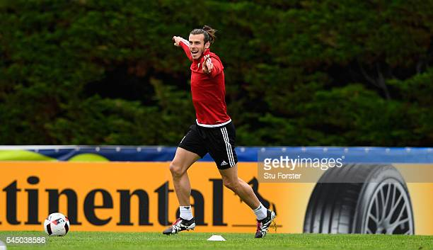 Wales player Gareth Bale reacts during Wales training ahead of their UEFA Euro 2016 Semi final against Portugal at College Le Bocage on July 5, 2016...