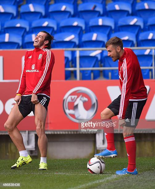 Wales player Gareth Bale shares a joke with team mate Aaron Ramsey during Wales training ahead of their UEFA European Championship qualiifying game...