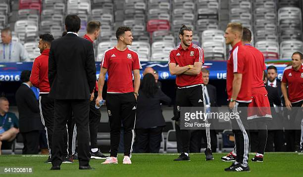 Wales player Gareth Bale shares a joke with team mates ahead of their Euro 2016 game against Russia at Stadium Muncipal on June 19, 2016 in Toulouse,...