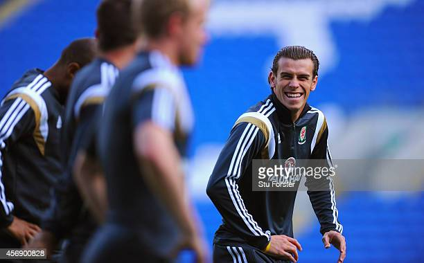 Wales player Gareth Bale shares a joke with team mates during Wales training ahead of their UEFA 2016 qualifier against BosniaHerzegovina at Cardiff...
