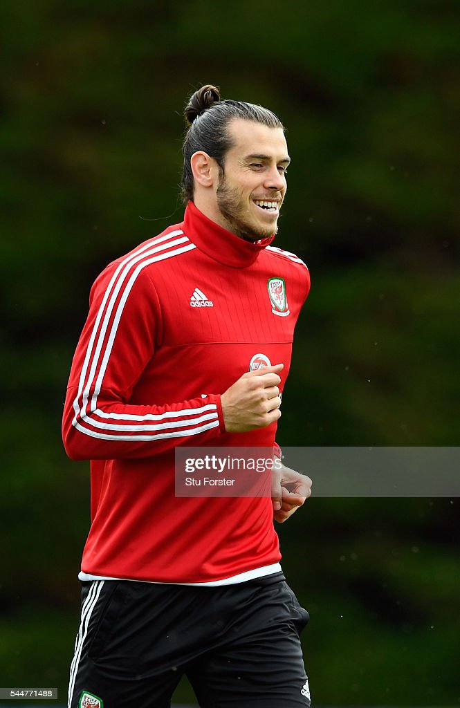 Wales player Gareth Bale warms up during Wales training ahead of their UEFA Euro 2016 semi final against Portugal at College Le Bocage on July 4, 2016 in Dinard, France.
