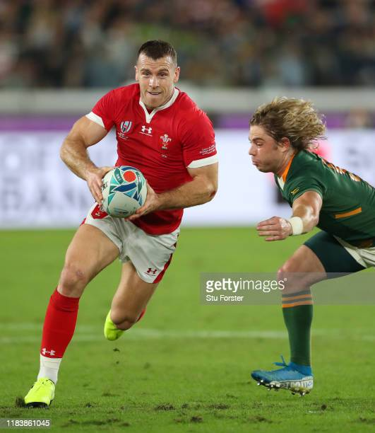 Wales player Gareth Davies in action during the Rugby World Cup 2019 Semi-Final match between Wales and South Africa at International Stadium...
