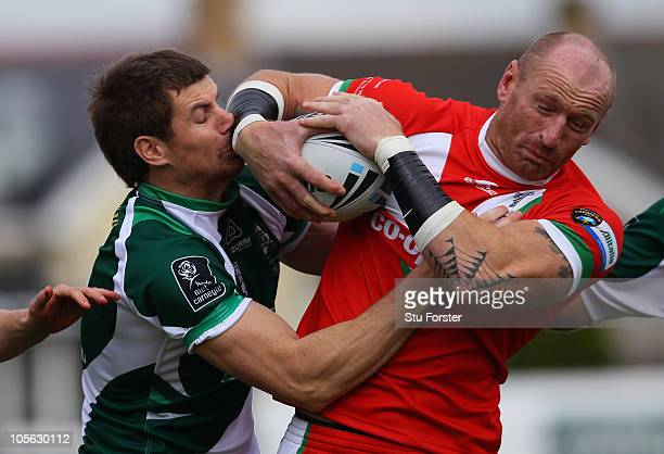 Wales player Gareth Thomas battles for the ball during the Rugby League Alitalia European Cup match between Wales and Ireland at the Gnoll on October...