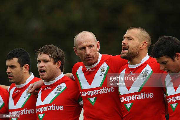 Wales player Gareth Thomas lines up for the national anthem with team mates before the Rugby League Alitalia European Cup match between Wales and...
