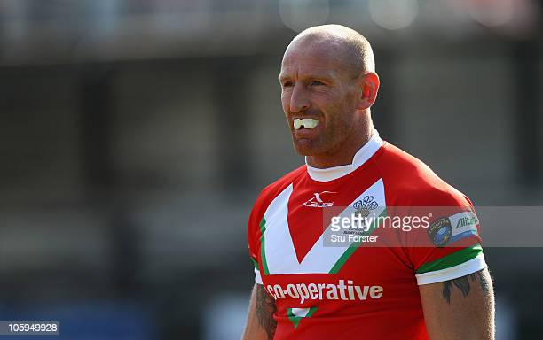 Wales player Gareth Thomas looks on during the Rugby League Alitalia European Cup match between Wales and Ireland at the Gnoll on October 17 2010 in...
